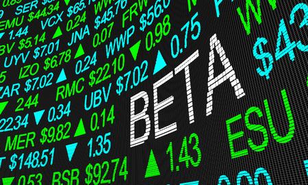 Beta Asset Risk Measurement Metric Benchmark Stock Market Ticker 3d Illustration