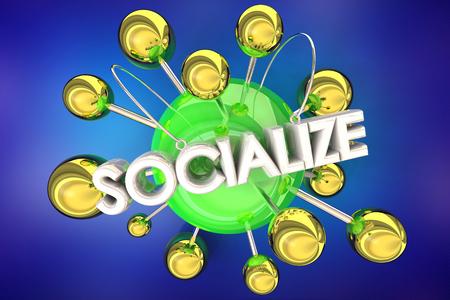 Socialize Share Discuss New Ideas Connected Spheres 3d Illustration Archivio Fotografico - 120435407