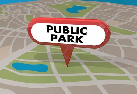 Public Park Nature Map Pin 3d Illustration