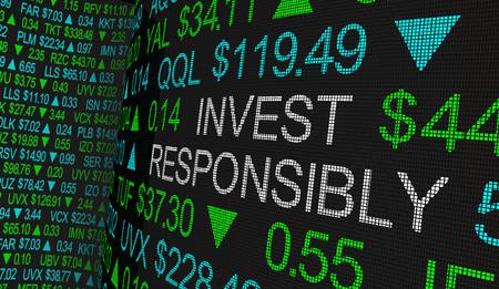 Invertir de forma responsable Inversión ética Inversión moral en acciones Ilustración 3d
