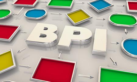 BPI Business Process Improvement Process Map Words 3d Illustration Stock Photo