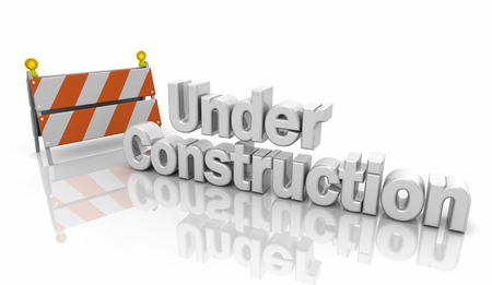 Under Constuction Hazard Barricade Sign 3d Illustration