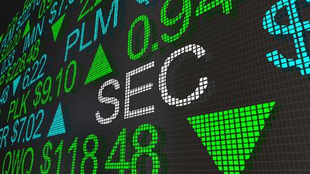SEC Securities Exhchange Commission Stock Market Ticker 3d Illustration Stock Photo