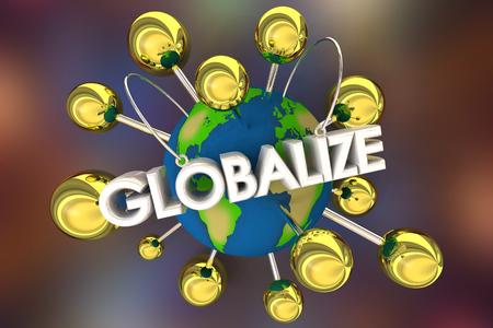 Globalize International Spread Relationships Connected Spheres 3d Illustration