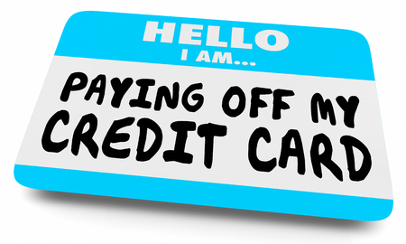 Paying Off My Credit Card Debt Name Tag Sticker 3d Illustration Imagens
