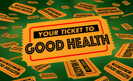Your Ticket to Good Health Fitness Long Life Tickets 3d Illustration