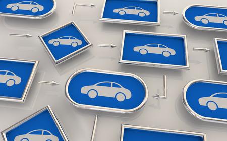 Cars Vehicles Automobiles Process Map Production Design Chart 3d Illustration