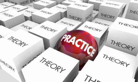 Theory Vs Practice Idea Application Real World 3d Illustration