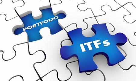 ETFs Exchange Traded Funds Stock Portfolio Puzzle 3d Illustration