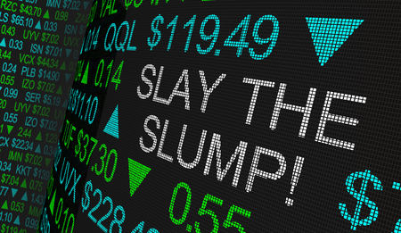 Slay the Slump Beat Bear Trends Stock Market Ticker 3d Illustration Stock Photo
