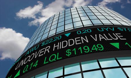 Uncover Hidden Value Find Great Deal Wall Street Stock Market 3d Illustration Reklamní fotografie - 120779228