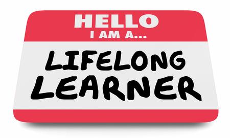 Aprendiz de por vida siempre educación etiqueta de nombre etiqueta engomada 3d