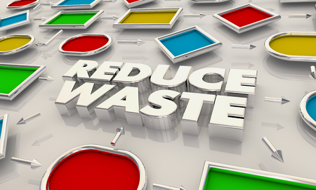 Reduce Waste Increase Efficiency Process Map Words 3d Illustration