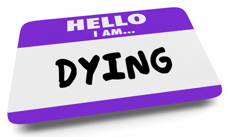 Dying Hello I Am Near Death Name Tag Sticker 3d Illustration Banco de Imagens