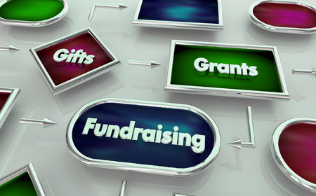 Fundraising Gifts Grants Process Map Diagram 3d Illustration Stok Fotoğraf