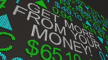 Get More For Your Money Stock Market Ticker 3d Illustration Reklamní fotografie