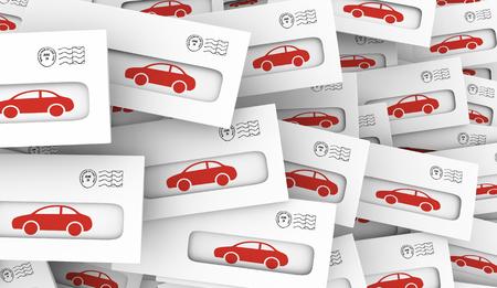 Car Automobile Envelope Direct Mail Advertisement 3d Illustration