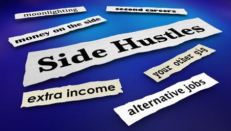 Side Hustles Second Gigs Jobs News Headlines 3d Illustration Stock Photo