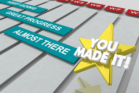 You Made It Progress Almost There Gantt Chart 3d Illustration