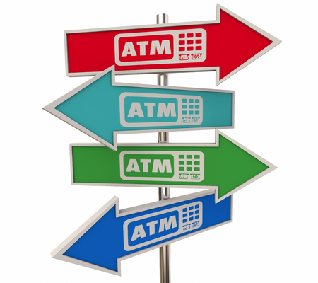 ATM Automated Teller Machine Bank Withdraw Arrow Signs 3d Illustration