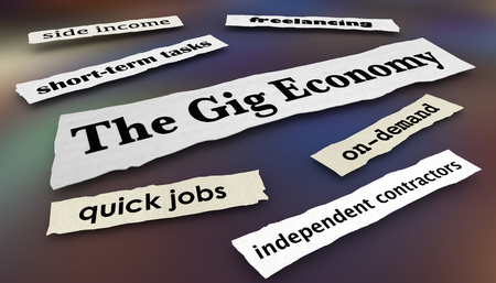 The Gig Economy Quick Jobs Independent Workers News Headlines 3d Illustration Standard-Bild