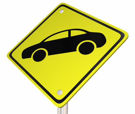 Automobile Car Vehicle Yellow Road Sign 3d Illustration