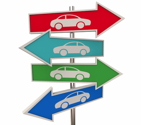 Cars Vehicles Automobiles Arrow Road Signs 3d Illustration 写真素材