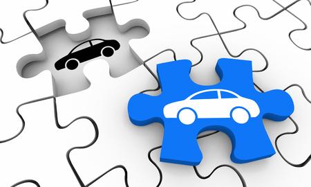 Car Vehicle Automobile Puzzle Complete Picture 3d Illustration