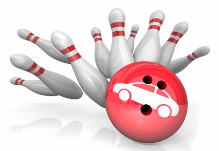 Car Auto Vehicle Bowling Strike Pins Win 3d Illustration