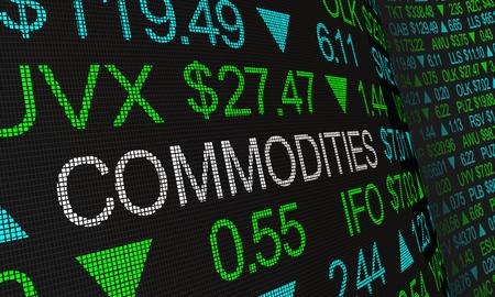 Grondstoffen economische goederen activa beurskoersen 3d illustratie Stockfoto