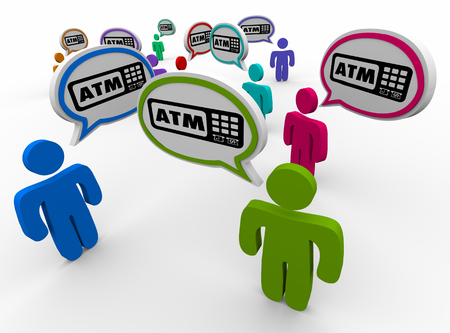 ATM Automated Teller Machine Bank Withdraw People Talking Speech Bubbles 3d Illustration Banco de Imagens
