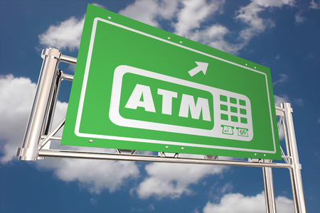 ATM Automated Teller Machine Bank Withdraw Freeway Sign Direction 3d Illustration