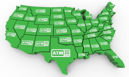 ATM Automated Teller Machine Bank Withdraw USA United States America Map 3d Illustration Stock Photo