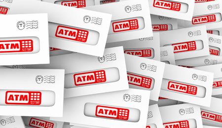 ATM Automated Teller Machine Bank Withdraw Envelopes Mail 3d Illustration