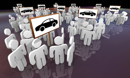 People Shoppers Around Car Signs Auto Dealerships 3d Illustration