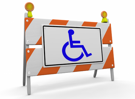 Wheelchair Disabled Person Symbol Disability Barricade Reserved Service Sign 3d Illustration