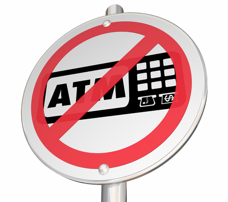 No ATM Available Here Automated Teller Machine Bank Withdraw Sign 3d Illustration Foto de archivo - 121407943