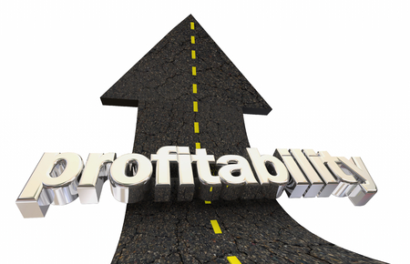 Profitability Earn More Net Revenue Money Road Arrow 3d Illustration Banque d'images