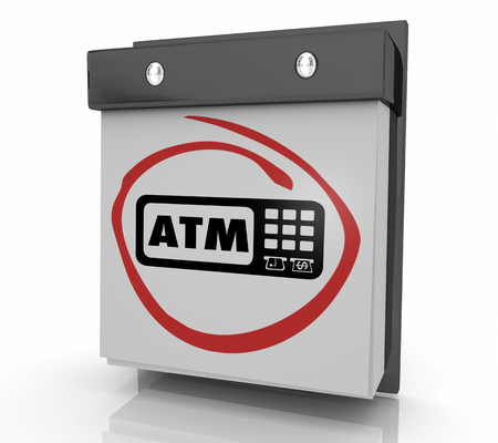 ATM Automated Teller Machine Bank Withdraw Wall Calendar Page 3d Illustration Stock Illustration - 121407948