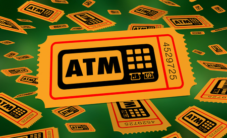 ATM Automated Teller Machine Bank Withdraw Tickets Enter Win Contest 3d Illustration 스톡 콘텐츠