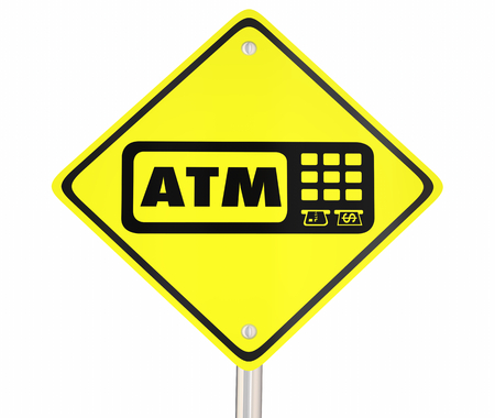 ATM Automated Teller Machine Bank Withdraw Yellow Road Sign 3d Illustration