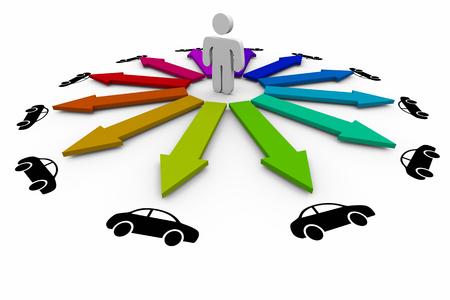 Person Choosing Deciding Best Car Vehicle Automobile 3d Illustration