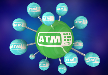 ATM Automated Teller Machine Bank Withdraw Connected Circles 3d Illustration