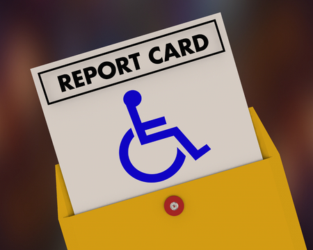 Wheelchair Disabled Person Symbol Disability Report Card Test Exam Result 3d Illustration Stock Photo