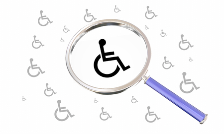 Wheelchair Disabled Person Symbol Disability Magnifying Glass Find Options 3d Illustration