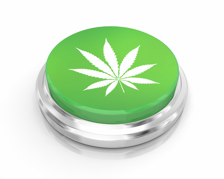 Marijuana Pot Weed Cannabis Green Round Button Order 3d Illustration Stock Photo