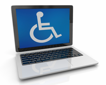 Wheelchair Disabled Person Symbol Disability Laptop Computer Software 3d Illustration Archivio Fotografico - 121780579