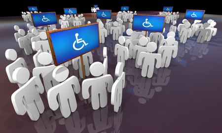 Wheelchair Disabled Person Symbol Disability People Around Signs Areas 3d Illustration