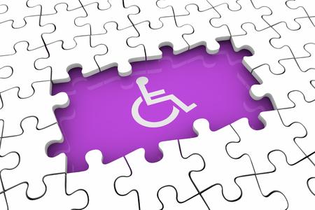 Wheelchair Disabled Person Symbol Disability Puzzle Piece Hole Problem 3d Illustration