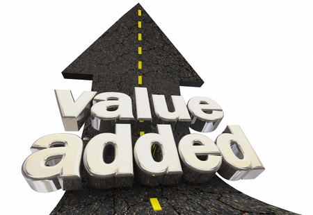 Value Added Increased More Benefits Road Arrow 3d Illustration